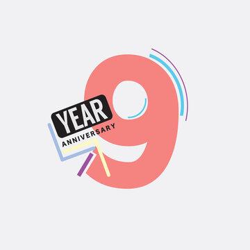 9th Years Anniversary Logo Birthday Celebration Abstract Design Vector Illustration.