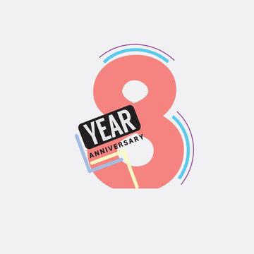 8th Years Anniversary Logo Birthday Celebration Abstract Design Vector Illustration.