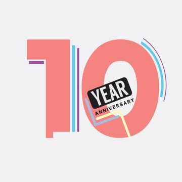10th Years Anniversary Logo Birthday Celebration Abstract Design Vector Illustration.
