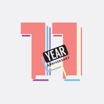 11th Years Anniversary Logo Birthday Celebration Abstract Design Vector Illustration.