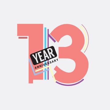13th Years Anniversary Logo Birthday Celebration Abstract Design Vector Illustration.