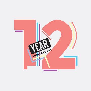 12th Years Anniversary Logo Birthday Celebration Abstract Design Vector Illustration.