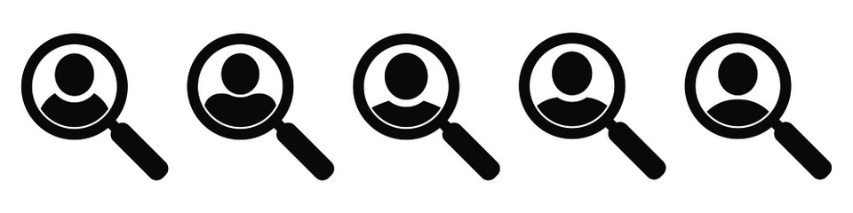 Fototapeta Magnifying glass looking for people icon, employee search symbol concept, headhunting, staff selection, vector illustration obraz