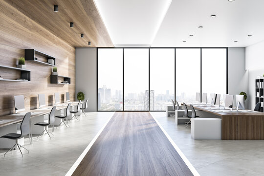 Clean wooden and concrete coworking office interior with equipment, furniture, different objects, city view and sunlight. 3D Rendering.