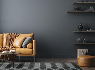 Obraz Black living room interior with leather sofa, minimalist industrial style, 3d render - fototapety do salonu