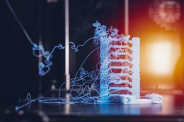 Fototapeta 3D printer PLA filament extruder temperature optimization print error head temp fail obraz