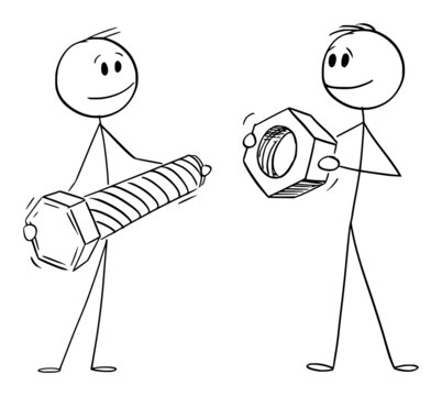 Persons or Businessmen Holding Bolt and Nut, Cooperation and Problem Solving , Vector Cartoon Stick Figure Illustration