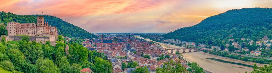 Fototapeta Sonnenuntergang Panorama über Heidelberg obraz