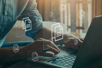 Fototapeta document management concept, digital documentation obraz