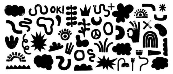Fototapeta Big set of black hand painted various shapes, curls, forms obraz