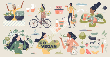 Fototapeta Vegan and natural, green diet eating lifestyle tiny person collection set. Avoid meat elements and animal products in your meal with healthy alternative from vegetarian nutrition vector illustration. obraz