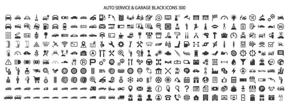 Icon set 300 related to auto service and garage