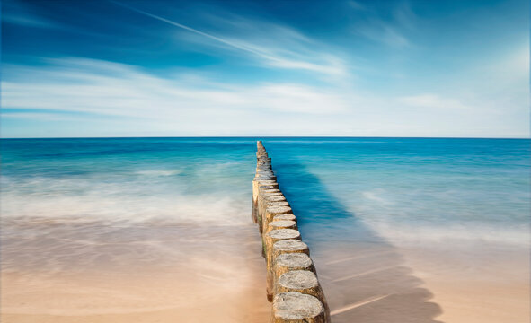 Langzeitbelichtung, long exposure, Strand im Ostseebad Kühlungsborn in Mecklenburg-Vorpommern