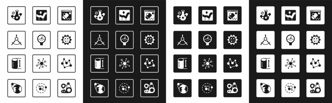 Set Data visualisation, Gauge scale, Drawing compass, Medicine pill, Virus, Graph chart infographic, Chemical formula and Height geometrical figure icon. Vector