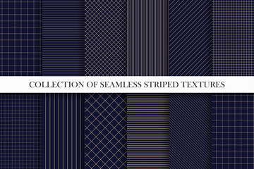 Obraz Collection of vector seamless geometric patterns. Dark grid striped backgrounds. Endless unusual linear textures - fototapety do salonu