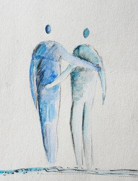 Freundschaft - zwei abstrakte Personen umarmen einander, freundschaftliche Umarmung