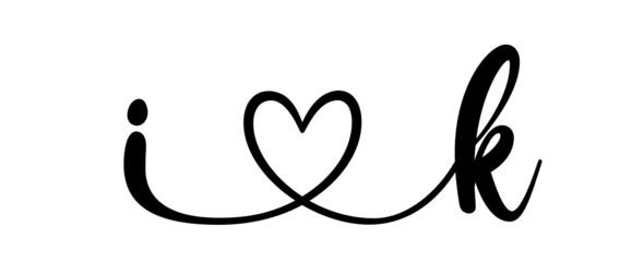 Obraz ik, ki, letters with heart Monogram, monogram wedding logo. Love icon, couples Initials, lower case, connecting HEART, home decor, - fototapety do salonu