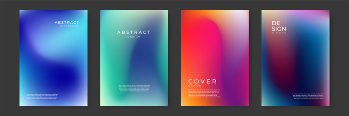 Fototapeta Blurred backgrounds set with modern abstract blurred color gradient patterns on white. Smooth templates collection for brochures, posters, banners, flyers and cards. Vector illustration. obraz