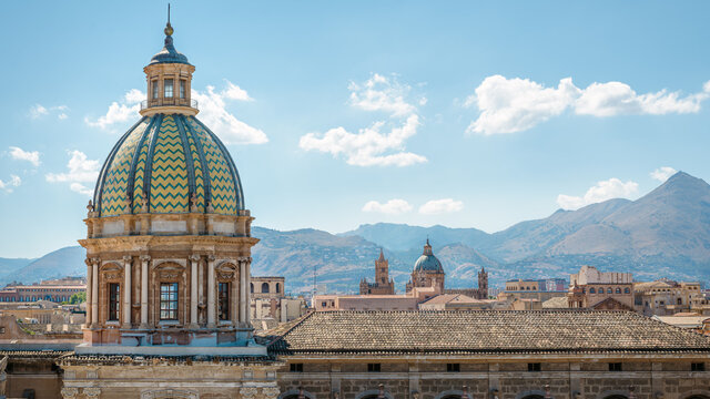 the skyline of palermo, italy