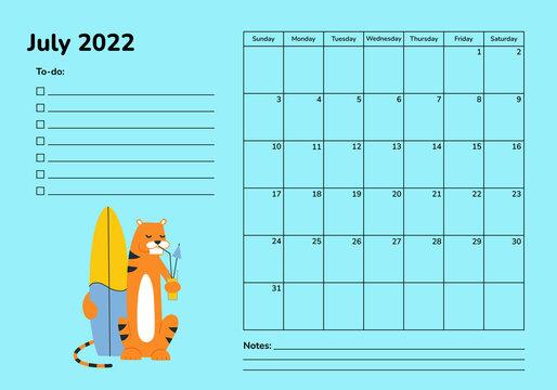 Horizontal planner 2022 with tiger. July calendar page. Organizer scheduler vector template. Desk corporate calendar. Week starts on Sunday. Summer sport activities. Surf surfing relax. Beach vacation