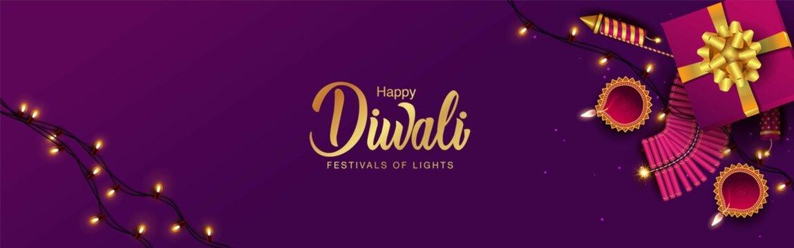 happy diwali web banner design. vector illustration design.