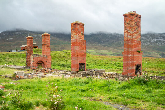 The ruins of Lenan Head fort at the north coast of County Donegal, Ireland.