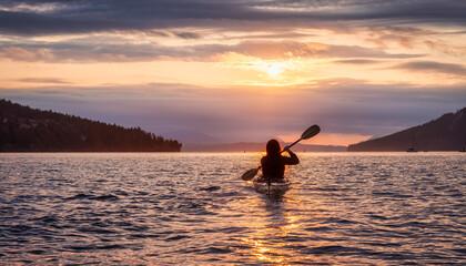 Obraz Adventurous Woman on Sea Kayak paddling in the Pacific Ocean. Summer Sunset Sky. Taken near Victoria, Vancouver Islands, British Columbia, Canada. Concept: Sport, Adventure - fototapety do salonu