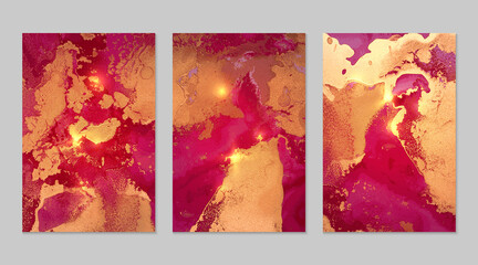 Obraz Set of abstract magenta and gold backgrounds with marble texture and shining glitter - fototapety do salonu