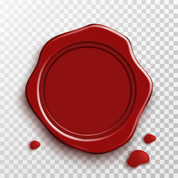 Realistic stamp wax seal with drops and shadow on transparent background. Rubber vintage red sealing wax. Template design for sign empty envelope, diploma, certificate, document. Vector illustration