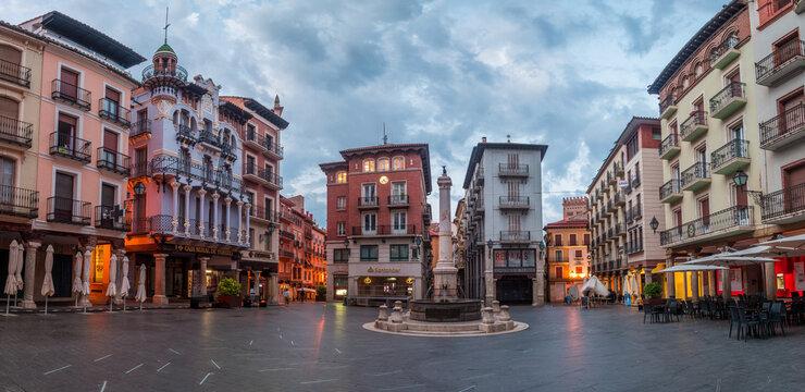 teruel, Spain. 29th august, 2021: square of el torico in teruel mudejar city,Spain