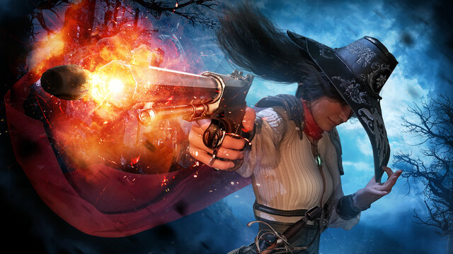 A beautiful cowboy girl in a pointed hat shoots directly into the frame with her gun in a super dynamic pose and angle, against the background of a night scene with a full moon and wind 3d rendering