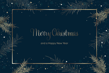 Fototapeta Merry Christmas and a Happy New Year greeting card vector. Blue background with christmas elements obraz