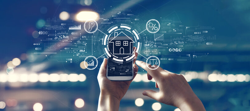 Real estate theme with person using a smartphone