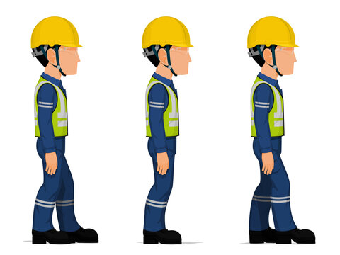 Set of workers are looking straight ahead on white background
