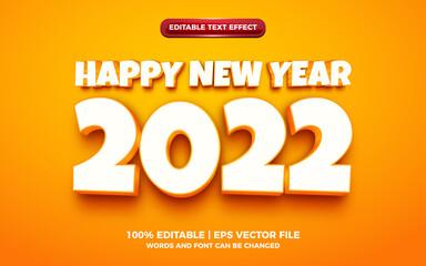 Obraz happy new year orange 3d cartoon editable text effect - fototapety do salonu