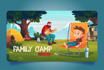 Obraz Family camp banner. Campsite with tent, van, man with guitar and boy in chair. Vector landing page with cartoon landscape with mountains, green trees, grass and tourists. Father and child on picnic - fototapety do salonu