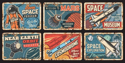 Fototapeta Space rockets and planets plates rusty metal, galaxy exploration, vector vintage posters. Spaceman flights program, cosmodrome museum, satellites or spacecraft and orbital station launch mission obraz
