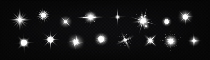 Fototapeta Star light glow, , shiny vector glare, bright white twinkle or explosion effect with radiant beams. Sparkles and magic flare graphic design elements, glitter and fireworks isolated realistic 3d set obraz