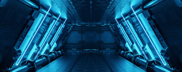 Fototapeta Blue spaceship interior with neon lights on panel walls. Futuristic corridor in space station background. 3d rendering obraz