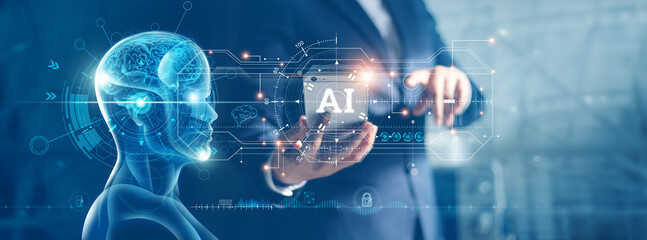 Artificial Intelligence and machine learning, AI, Businessman use data of robots on smartphone to...