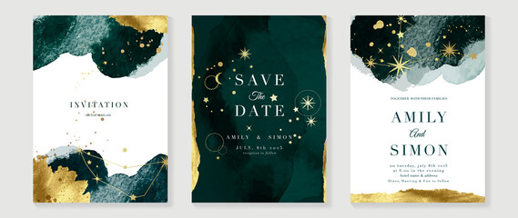 Obraz Star and moon themed wedding invitation vector template collection. Gold and luxury save the dated card with watercolor and gold sparkles and brush texture. Starry night cover design background. - fototapety do salonu
