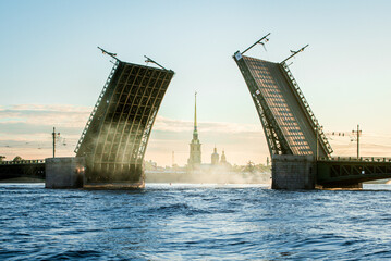 Morning bridge opening in Saint Petersburg, Russia