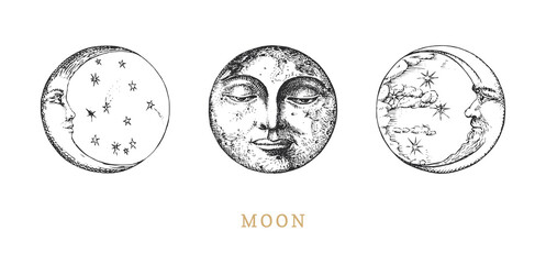 Obraz Moon, Crescents set, drawings in engraving style. - fototapety do salonu