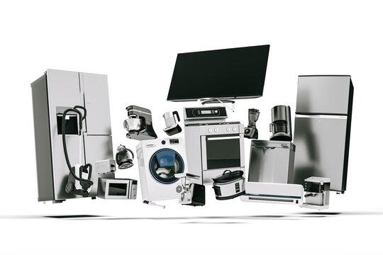 3d variety of home appliances concept design