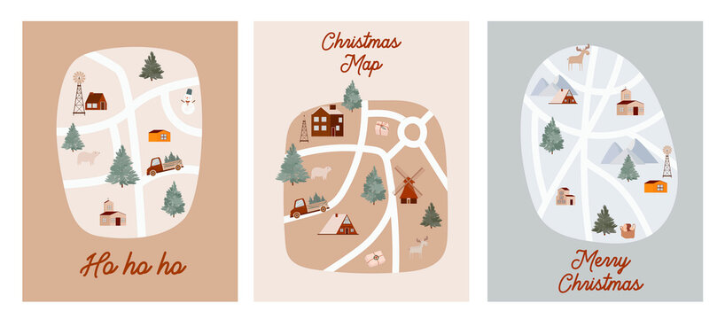 Collection of Holidays greeting cards with Christmas maps with houses, forest, mountain, animals, cars, trucks. Guide for Christmas market. Editable vector illustration.