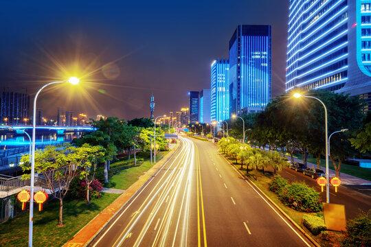 Highways and high-rise buildings, Fuzhou, Fujian Province, China.