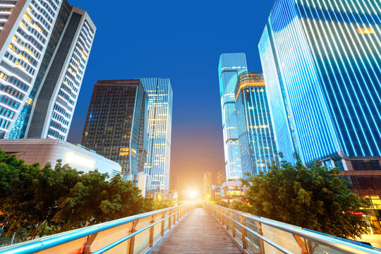 Overpasses and modern buildings in the financial district, Fuzhou, China.