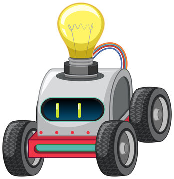 Vintage robot car toy with light bulb