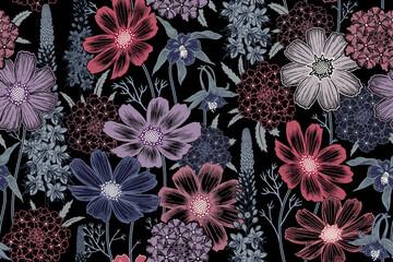 Wiosenne kolorowe kwiaty na czarnym tle