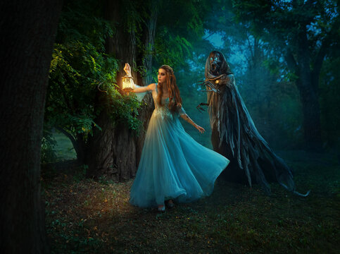 Fantasy woman elf walks in night forest, holding lantern in hands. Girl is hunted by dark fairy demon, ghost of Death, black skeleton in cloak hood. Cosplay of character from book of Feyre and Suriel